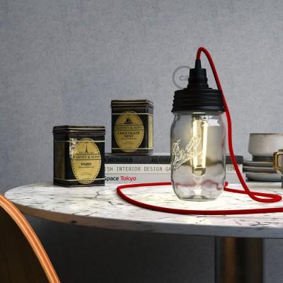 Čierna zostava na lampu zo zaváraninového pohára s E14 čiernou bakelitovou objímkou a obyčajnou káblovou svorkou