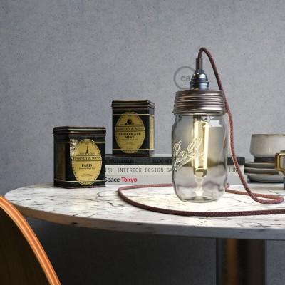 Pozinkovaná zostava na lampu zo zaváraninového pohára s E14 chrómovanou kovovou objímkou a valcovou káblovou svorkou
