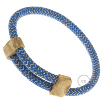 Kreatívny - náramok ľanovej farby s modrým cikc-cakom RD73. Drevené posuvné upevnenie.
