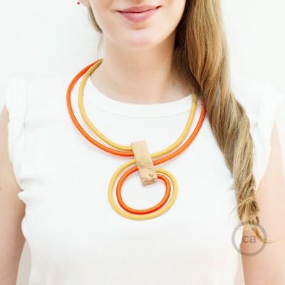 Nekonečný náhrdelník - prispôsobiteľný - dvojfarebný horčicový RM25 a oranžový RM15.