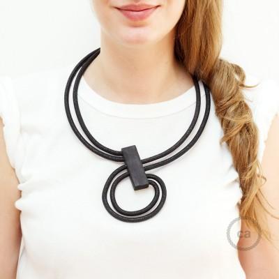 Nekonečný náhrdelník - prispôsobiteľný - jednofarebný lesklý čierny RL04