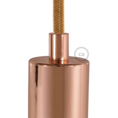 Medený okrúhly kovový držiak pnutia kábla so závitovou tyčkou, matkou a podložkou.