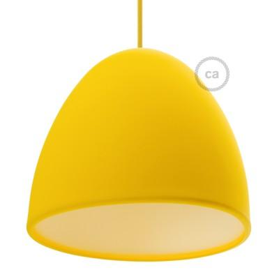 Žlté Silikónové tienidlo s difúzorom a držiakom pnutia kábla. Priemer 25 cm.