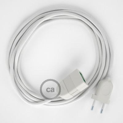 Biely bavlnený RC01 2P 10A textilný predlžovací elektrický kábel. Vyrobený v Taliansku.