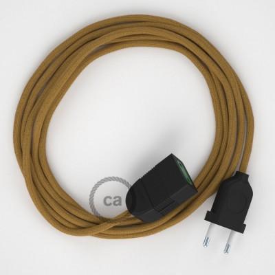 Medový bavlnený RC31 2P 10A textilný predlžovací elektrický kábel. Vyrobený v Taliansku.