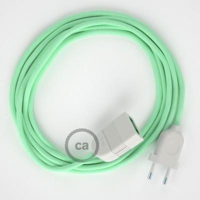 Mliečno - mätový bavlnený RC34 2P 10A textilný predlžovací elektrický kábel. Vyrobený v Taliansku.