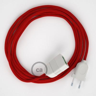 Ohnivo - červený bavlnený RC35 2P 10A textilný predlžovací elektrický kábel. Vyrobený v Taliansku.