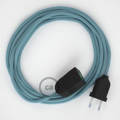 Oceánovomodrý bavlnený RC53 2P 10A textilný predlžovací elektrický kábel. Vyrobený v Taliansku.
