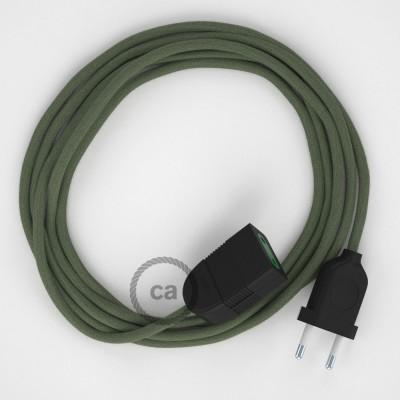 Zeleno - šedý bavlnený RC63 2P 10A textilný predlžovací elektrický kábel. Vyrobený v Taliansku.