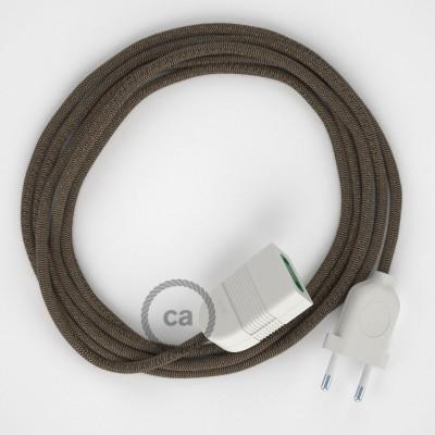 Cik - cak kôrový bavlneno - ľanový RD73 2P 10A textilný predlžovací elektrický kábel. Vyrobený v Taliansku.