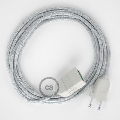 Trblietavý biely hodvábny RL01 2P 10A textilný predlžovací elektrický kábel. Vyrobený v Taliansku.