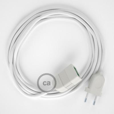 Biely hodvábny RM01 2P 10A textilný predlžovací elektrický kábel. Vyrobený v Taliansku.