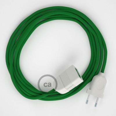 Zelený hodvábny RM06 2P 10A textilný predlžovací elektrický kábel. Vyrobený v Taliansku.