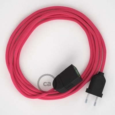 Fuchsiový hodvábny RM08 2P 10A textilný predlžovací elektrický kábel. Vyrobený v Taliansku.