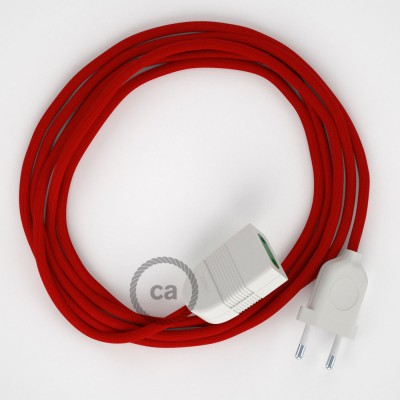 Červený hodvábny RM09 2P 10A textilný predlžovací elektrický kábel. Vyrobený v Taliansku.