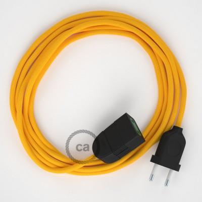 Žltý hodvábny RM10 2P 10A textilný predlžovací elektrický kábel. Vyrobený v Taliansku.