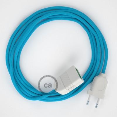 Tyrkysový hodvábny RM11 2P 10A textilný predlžovací elektrický kábel. Vyrobený v Taliansku.