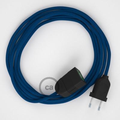 Modrý hodvábny RM12 2P 10A textilný predlžovací elektrický kábel. Vyrobený v Taliansku.