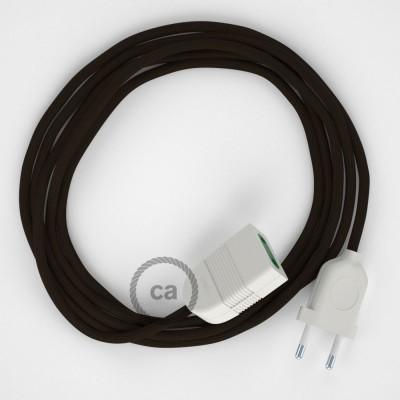 Hnedý hodvábny RM13 2P 10A textilný predlžovací elektrický kábel. Vyrobený v Taliansku.