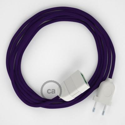 Fialový hodvábny RM14 2P 10A textilný predlžovací elektrický kábel. Vyrobený v Taliansku.