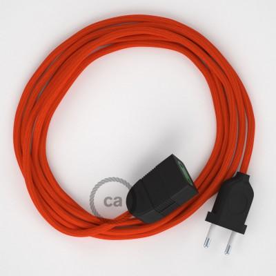 Oranžový hodvábny RM15 2P 10A textilný predlžovací elektrický kábel. Vyrobený v Taliansku.