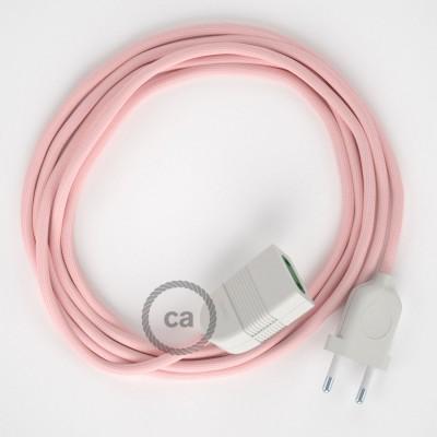 Ružový hodvábny RM16 2P 10A textilný predlžovací elektrický kábel. Vyrobený v Taliansku.