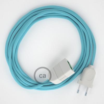 Svetlo modrý hodvábny RM17 2P 10A textilný predlžovací elektrický kábel. Vyrobený v Taliansku.