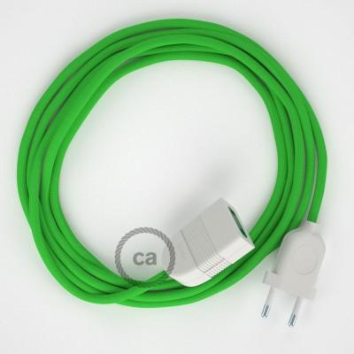 Limetkový hodvábny RM18 2P 10A textilný predlžovací elektrický kábel. Vyrobený v Taliansku.