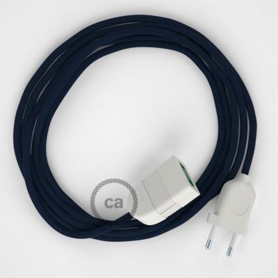 Tmavo modrý hodvábny RM20 2P 10A textilný predlžovací elektrický kábel. Vyrobený v Taliansku.