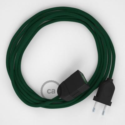Tmavo zelený hodvábny RM21 2P 10A textilný predlžovací elektrický kábel. Vyrobený v Taliansku.