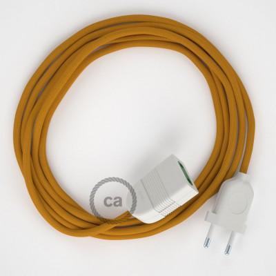 Horčicový hodvábny RM25 2P 10A textilný predlžovací elektrický kábel. Vyrobený v Taliansku.