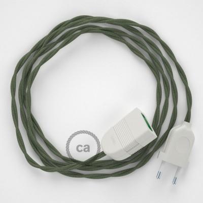 Zeleno - šedý bavlnený TC63 2P 10A textilný predlžovací elektrický kábel. Vyrobený v Taliansku.