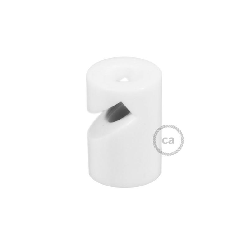 """Decentralizér - biely stropný alebo nástenný """"V"""" háčik pre textilné elektrické káble."""