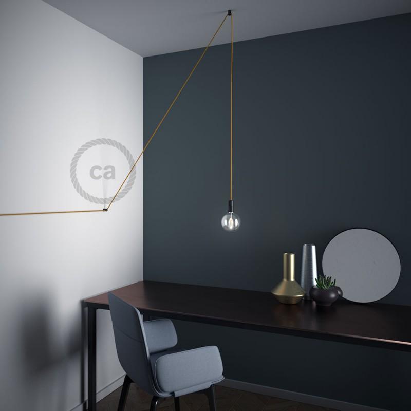 """Decentralizér - čierny stropný alebo nástenný """"V"""" háčik pre textilné elektrické káble."""