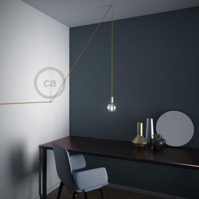 """Decentralizér - priehľadný stropný alebo nástenný """"V"""" háčik pre textilné elektrické káble."""