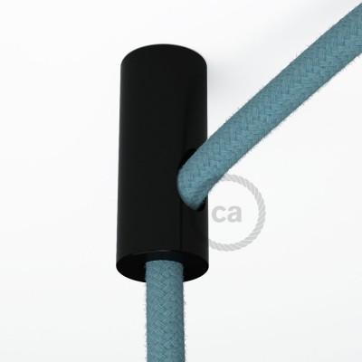 Čierny stropný decentralizér - háčik a zarážka pre textilné elektrické káble.