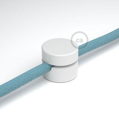 Univerzálna biela nástenná káblová svorka pre textilné elektrické káble.