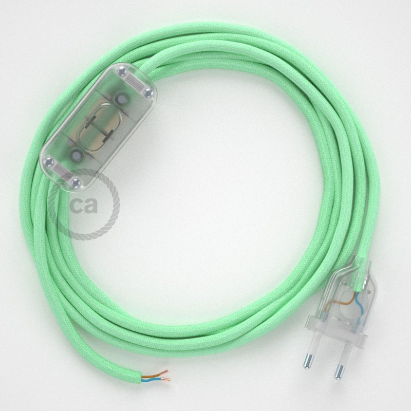 Napájací kábel pre stolnú lampu, RC34 Mliečno - mätový bavlnený 1,80 m. Vyberte si farbu zástrčky a vypínača.