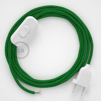 Napájací kábel pre stolnú lampu, RL06 Zelený hodvábny 1,80 m. Vyberte si farbu zástrčky a vypínača.
