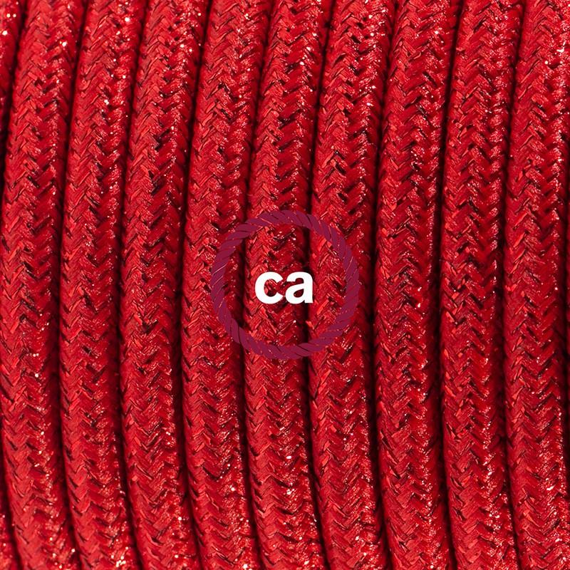 Napájací kábel pre stolnú lampu, RL09 Červený hodvábny 1,80 m. Vyberte si farbu zástrčky a vypínača.