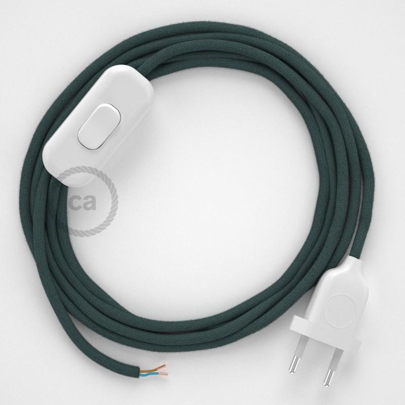 Napájací kábel pre stolnú lampu, RC30 Kamenno šedý bavlnený 1,80 m. Vyberte si farbu zástrčky a vypínača.
