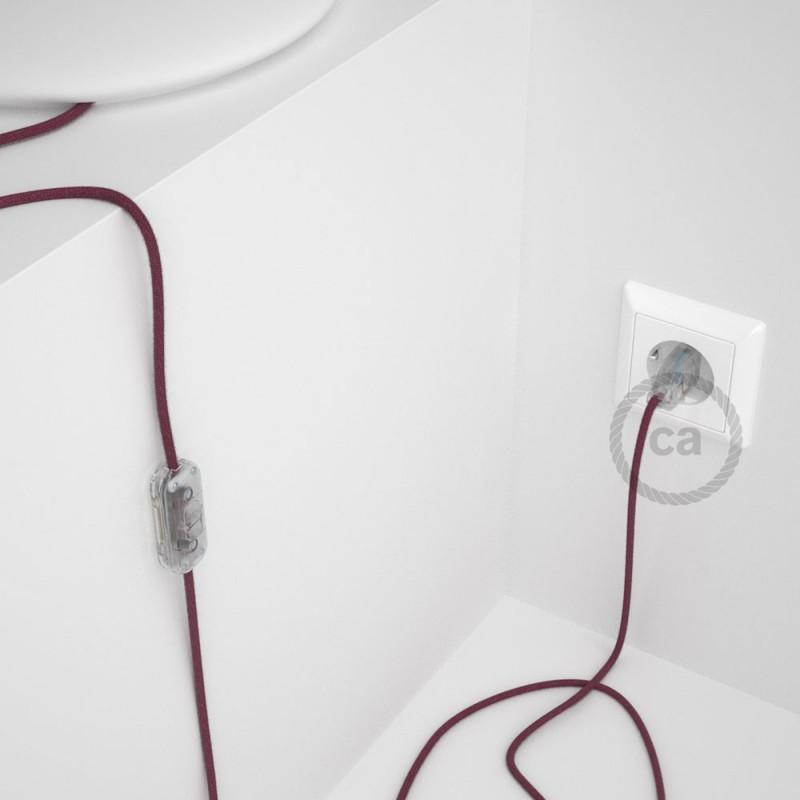 Napájací kábel pre stolnú lampu, RC32 Bordový bavlnený 1,80 m. Vyberte si farbu zástrčky a vypínača.