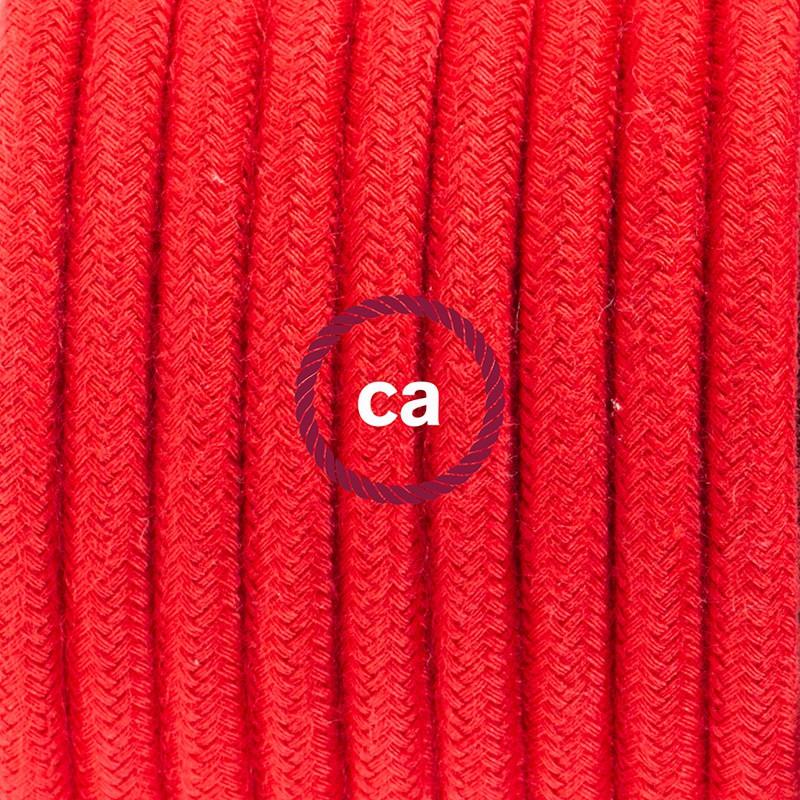 Napájací kábel pre stolnú lampu, RC35 Ohnivo - červený bavlnený 1,80 m. Vyberte si farbu zástrčky a vypínača.