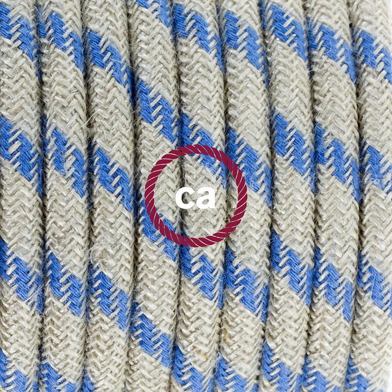Napájací kábel pre stolnú lampu, RD55 Prúžkovaný modrý bavlneno - ľanový 1,80 m. Vyberte si farbu zástrčky a vypínača.
