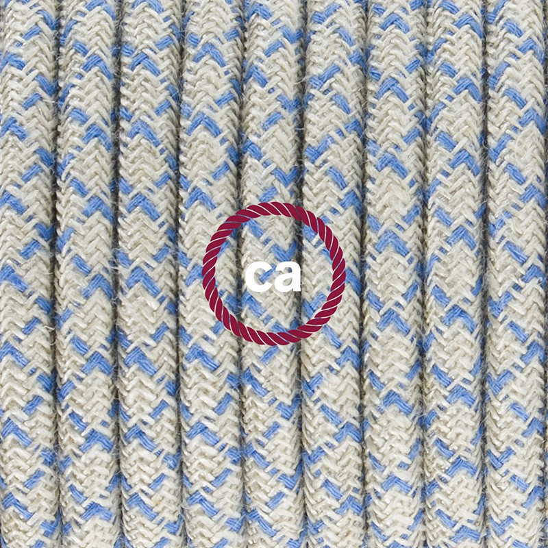 Napájací kábel pre stolnú lampu, RD65 Kosoštvorcový modrý bavlneno - ľanový 1,80 m. Vyberte si farbu zástrčky a vypínača.