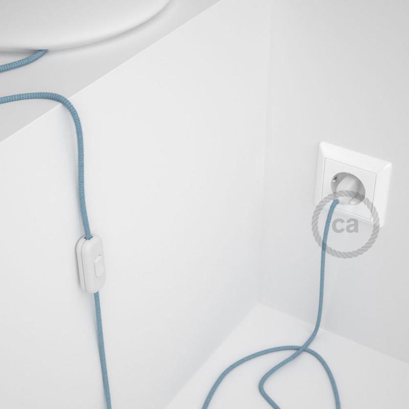 Napájací kábel pre stolnú lampu, RD75 Cik - cak modrý bavlneno - ľanový 1,80 m. Vyberte si farbu zástrčky a vypínača.
