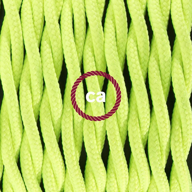 Napájací kábel pre stolnú lampu, TF10 Fluo žltý hodvábny 1,80 m. Vyberte si farbu zástrčky a vypínača.