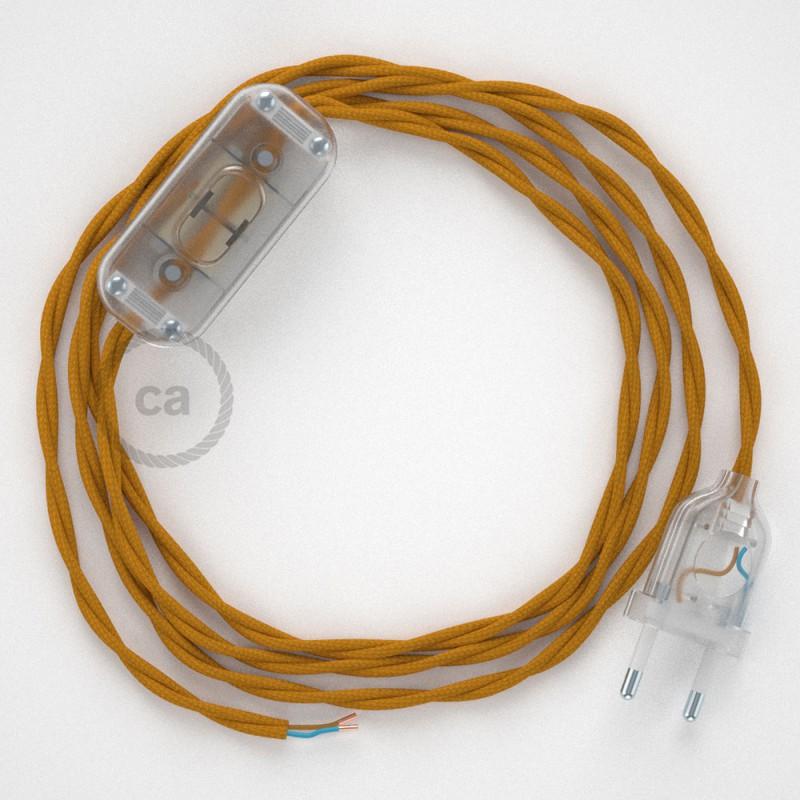 Napájací kábel pre stolnú lampu, TM25 Horčicový hodvábny 1,80 m. Vyberte si farbu zástrčky a vypínača.