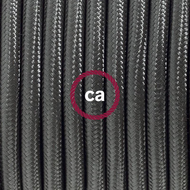 Napájací kábel pre stolnú lampu, RM26 Tmavo šedý hodvábny 1,80 m. Vyberte si farbu zástrčky a vypínača.