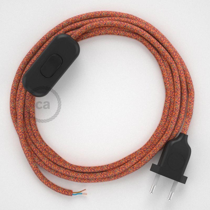 Napájací kábel pre stolnú lampu, RX07 Indian Summer bavlnený 1,80 m. Vyberte si farbu zástrčky a vypínača.
